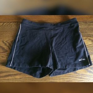 Spalding Black Gym Shorts w/ White Piping